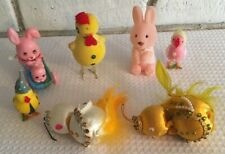 7 Vtge Easter doo dads chicken chickie hanging ornaments bunnies flocked windup