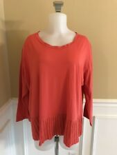 CUT LOOSE Coral Boxy Lagenlook Cotton Top 3/4 Sleeve Sz M