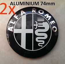 2x Set ALU Alfa Romeo 74mm Emblem Logo Kühlergrill 147 GT Mito Giulietta 159 blk