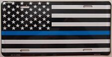 MADE IN USA - THIN BLUE LINE LICENSE PLATE - POLICE SUPPORT CAR TAG + MEMORIAL