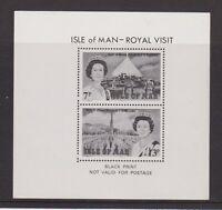ISLE OF MAN 1979 ROYAL VISIT STAMP SHEET BLACK PRINT NOT VALID FOR POSTAGE