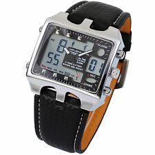 Men's Stainless Steel Case Sport LCD Digital Wrist Black Leather Quartz Watch