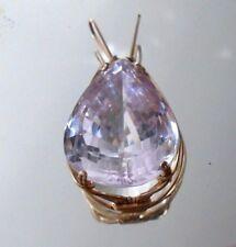 fine massive pear cut  48 carat natural pink Kunzite gemstone wire wrap pendant