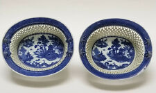PAIR ANTIQUE 19c CANTON CHINESE EXPORT BLUE & WHITE RETICULATED PORCELAIN BASKET