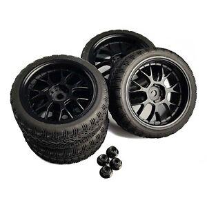 4 x 1/10 RC Road Wheels and Tyres Black Y-Spoke Tamiya TT02 TT01 w/ WHEEL NUTS
