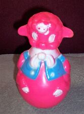 VINTAGE BABY TOY SIDNEY A TARRSON CO ARCO CHIME TOY PINK LAMB PLASTIC TOY