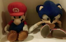 "Set of 2 Plush Backpacks 17""Mario and 16"" Sonic Character Plush Backpacks"