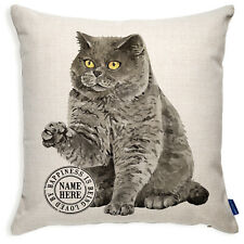 More details for personalised shorthair cushion cover cat pillow portrait grey kitten gift kcc35