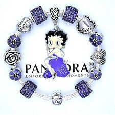 Authentic Pandora Bracelet Silver Bangle with BETTY BOOP Purple European Charms~