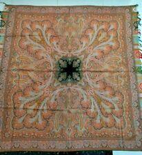 """Antiguo Francés Paisley Cachemira Piano chal de lana cuadrado tamaño 72"""" X 70"""" gooddesign"""
