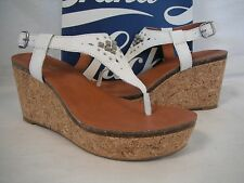 Lucky Brand Size 9 M Narnie White Leather Sandals Wedges New Womens Shoes