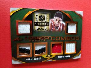 MICHAEL JORDAN SCOTTIE PIPPEN GAME USED JERSEY CARD #d/2525 LEAF ULTIMATE BULLS