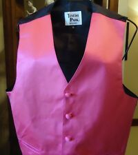 FUN Hot Pink Satiny Tuxedo Formal Tux Vest S