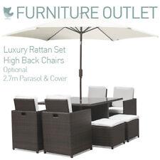 Harts Premium Rattan Cube 8 Seat Dining Set Patio Furniture in GREY -Refurbished