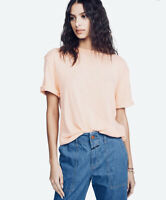 New We The Free People M Cassidy Cuffed short Sleeve Peachy Pink T-Shirt Tee NWT