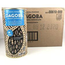Box - 6 DAGOBA ORGANIC UNSWEETENED Chocolate Baking Cocoa Powder 8 OZ CANISTERS