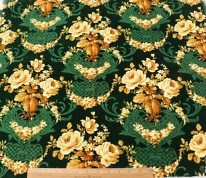 """Pretty French Antique Yellow Rose Printed Velvet Fabric c1870~L-22"""" X W-28"""""""
