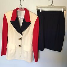 Tristano Onofri Red/White/Blue Skirt Suit - Size 8