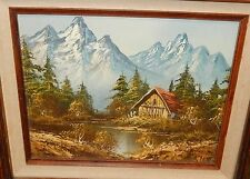 CARL MADDEN ORIGINAL OIL ON CANVAS SNOW MOUNTAIN CABIN RIVER PAINTING