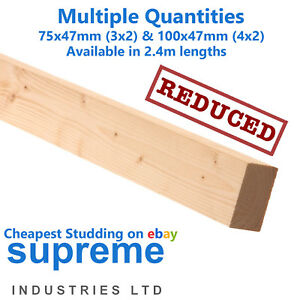 minimum 10 Lengths  Nationwide Timber Stud Wall CLS 3x2 /& 4x2 in 2.4m lengths