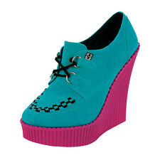 T.U.K. CREEPER WEDGE TURQUOISE SUEDE Ladies Size UK5/EU38 A8439L