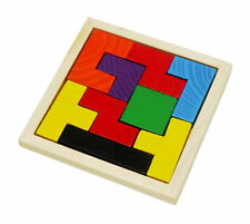 Wooden Intelligence Game Wood IQ Puzzle Brain Teaser Jigsaw Tetris Block 9 pc