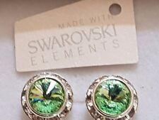 Genuine Swarovski Elements 13mm Gift Boxed Chrysolite Crystal Stud Earrings