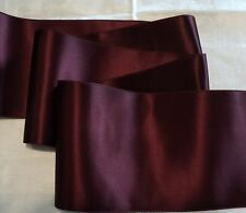 "4"" WIDE SWISS DOUBLE FACE SATIN RIBBON- BURGUNDY-  BY THE YARD"