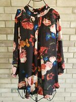 Worthington Womens 3X Top V Neck Plus Size Black Shirt Blouse Sheer Floral