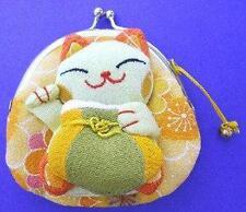 Japanese Maneki Neko Lucky Cat Coin Purse Bag #22408-8 S-2845