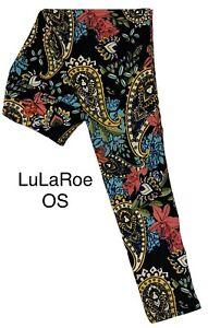 LuLaRoe OS Leggings #4364 - Flowers & Paisley on Black - Original One Size