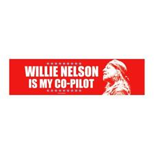 Official Willie Nelson Is My Co-Pilot Red Bumper Sticker 9.5X2.5""
