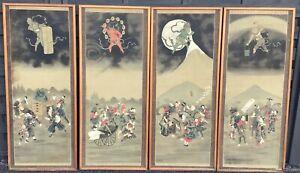4 Meiji Japanese scroll paintings, Weather Dieties Fujin, Raijin & Oni (demons)