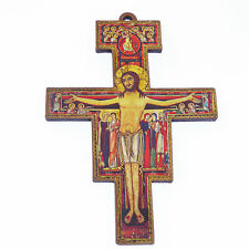 8.8cm wooden St. Francis of Assisi Christian cross crucifix wood