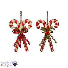 *Gisela Graham Tin Double Candy Cane Bow Berries Christmas Xmas Tree Decoration*
