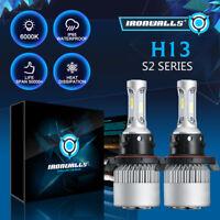 H13 COB LED Headlight Kit 2000W 300000LM Hi Low Beam Bulbs White 6500K White