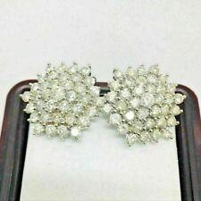 3.5Ct Round Cut VVS1/D Diamond Cluster Earrings Omega Back 14K White Gold Finish