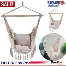 New listing Hammock Chair Patio Porch Yard Tree Hanging Air Swing Seat Rope Swing Outdoor Us
