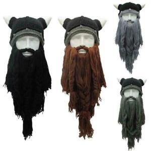 Funny Barbarian Long Beard Viking Horn Hat Crazy Ski Cap Beanie Hat USA