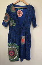 Desigual blue dress with multicoloured patterns - size XL (12 to 14)