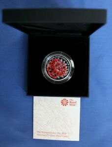 """2016 Alderney Silver Proof £5 coin """"Remembrance"""" in Case with COA"""