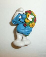 "Smurf with Flowers Small Figure Toy Bouquet of Flowers 2"" Tall"