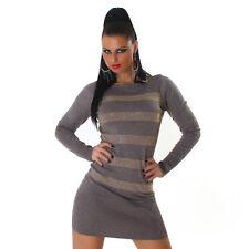 Kleid Minikleid Longpullover  Pullover Nieten Streifen Braun Macchiato 34 36 38