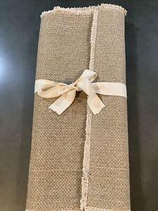 POTTERY BARN Mason Cotton Fringe Table Runner 18x108 Flax #1947