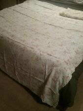 """Pair of Floral Vintage Satin Bed Covers with Lace Inserts & Trim 66"""" X 93"""""""