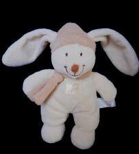 Doudou Peluche Lapin INFANT TOYS blanc écru Bonnet écharpe beige Grelot
