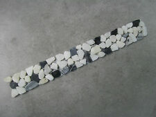 NATURAL MARBLE PEBBLE BORDER - BLACK, GREY + WHITE MIX 30cm x 4cm