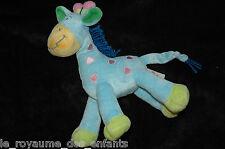 Doudou Girafe bleue rose verte jaune crinière en laine Nicotoy 23 cm