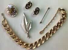 Vintage Costume Jewelry Lot Ram Trifari Leaf Brooch Earrings Necklace Stickpin