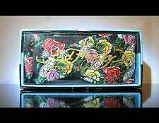 Black Ed Hardy Silk Bowtie Bow Christian Audigier Love Luck Life roses floral